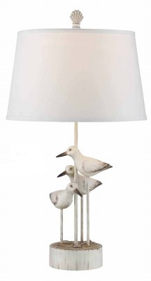 "30"" Distressed White Finish Seabird Trio Wood Lamp"