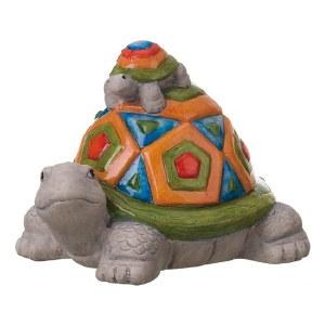"8"" Multicolor Geometric Ceramic Turtle with Baby on Back Figurine"