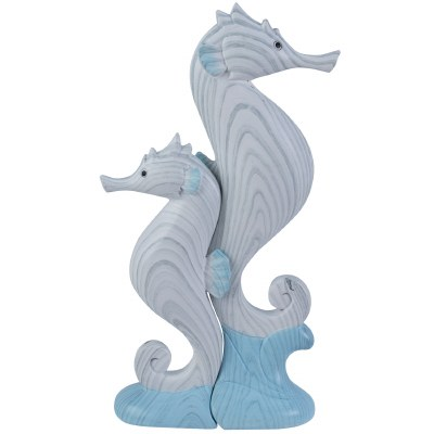 "6"" Set of 2 Blue and White Faux Wood Seahorse Statues"