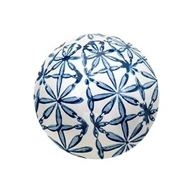"4"" Blue and White Flower Grid Ceramic Orb"