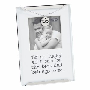 """2.5"""" x 2.5"""" Metal and Glass The Best Dad Photo Charm Clip Frame"""