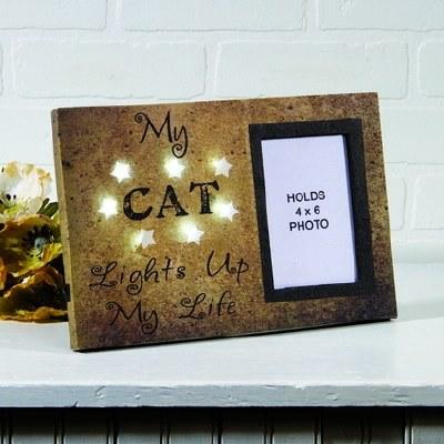 "4"" x 6"" Gold LED Stars My Cat Lights Up My Life Photo Frame"