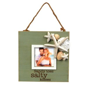 """3"""" x 3"""" Square Green Sandy Toes, Salty Kisses Photo Frame"""