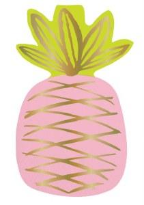 """5"""" Pink Pineapple Die Cut Beverage Napkins"""