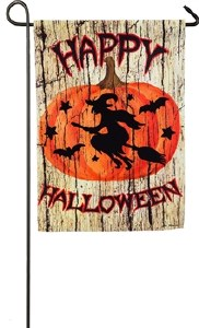 "18"" x 12"" Mini Cloth Happy Halloween with Witch on Broom Flag"