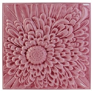 16 Square Pink Metal Flower Wall Plaque