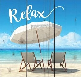 Square Relax Beach Scene Wall Plaque