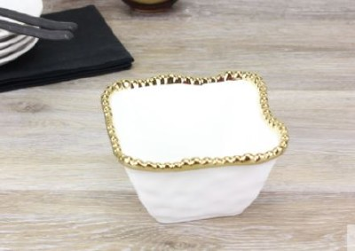 """5"""" Square White and Gold Beaded Ceramic Bowl"""