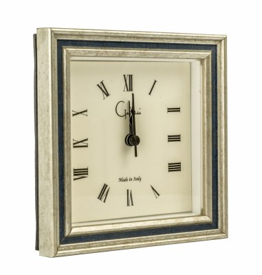 """5"""" Square Silver and Navy Channel Mantle Clock"""