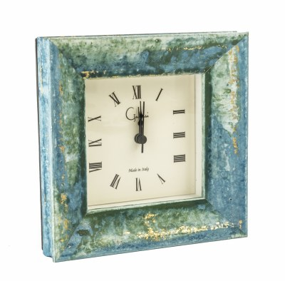 """6"""" Square Teal and Gold Bella Mantle Clock"""