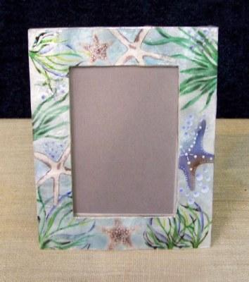 """5"""" x 7"""" Multi Colored Capiz Starfish Picture Frame"""