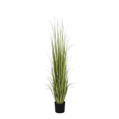 6 ft. Faux Green Ranch Grass in Black Pot