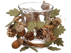 "5"" Acorn Wood Leaf Clear Candle holder"