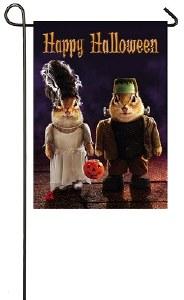 """18"""" x 13"""" Mini Suede Chipmonks Frankenstein Garden Flag"""
