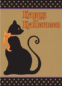 "18"" x 13"" Mini Burlap Happy Halloween Cat Garden Flag"