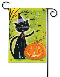 "18"" x 12"" Mini Black Cat and Pumpkin Garden Flag"
