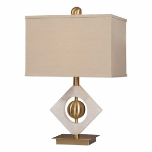 "23"" Brass Orb in Alabaster Square Lamp"