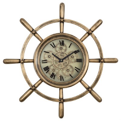 "27"" Round Copper Ship's Wheel Gear Clock"