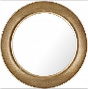 "34"" Round Distressed Gold Finish Mirror"