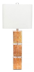 """37"""" Three Tier Clear and Copper Leaf Cubes Table Lamp"""
