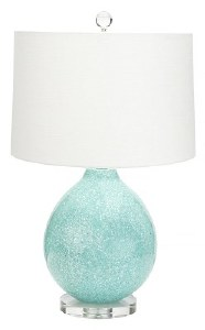 """27"""" Round Aqua Speckled Table Lamp With Clear Base"""