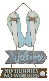 "17"" Blue and Green Wood Flip Flop Welcome Wall Plaque"