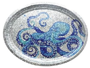 "17"" Oval Blue Metal Octopus Tray"