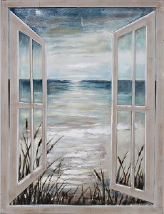 """47"""" x 36"""" Open Window to Shore Canvas"""