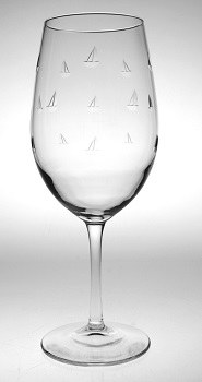 18 oz Etched Sailing All Purpose Wine Glass