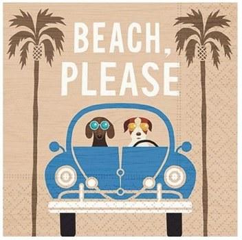 "5"" Beach Please Dogs Paper Beverage Napkins"