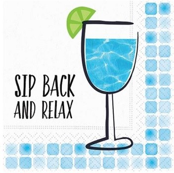 """5"""" Square Blue Sip Back and Relax Paper Beverage Napkins"""