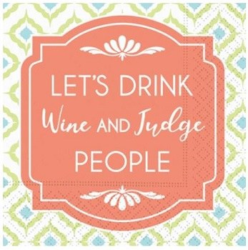 """5"""" Square Drink Wine and Judge People Paper Beverage Napkins"""