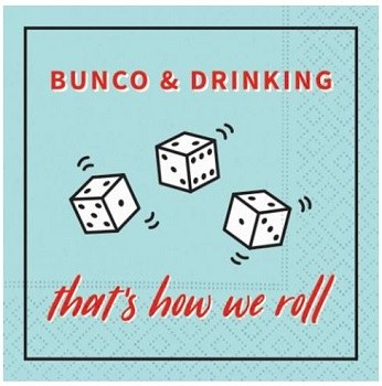 """5"""" Square Bunco and Drinking Paper Beverage Napkins"""