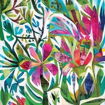 "5"" Square Tropical Flora Paper Beverage Napkins"