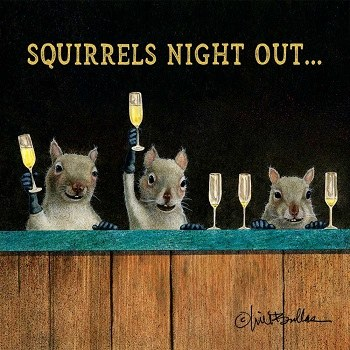 "5"" Square Squirrels Night Out Paper Beverage  Napkins"