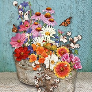 "5"" Square Bucket of Wildflowers Paper Beverage Napkins"