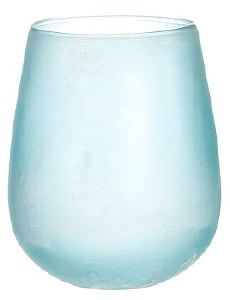 "8"" Aqua Frosted Glass Hurricane"