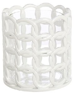 "7"" White Ceramic Rope Pattern Hurricane With Glass"
