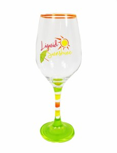 "9"" Liquid Sunshine Wine Glass"