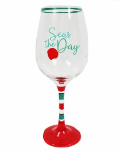 "9"" Seas The Day Wine Glass"