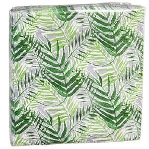 "5"" Square Green Fronds Paper Beverage Napkin"