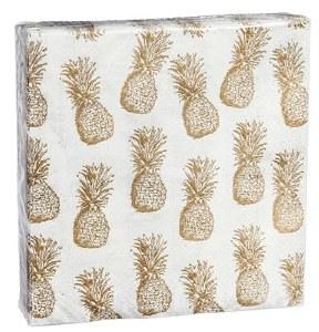 "5"" Square Gold Pineapple Beverage Napkins"