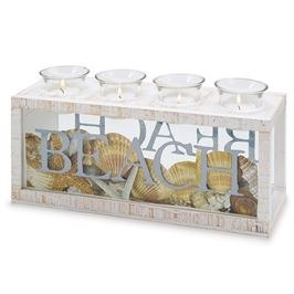 "12"" Whitewashed 4 Votive Holder Beach Box"