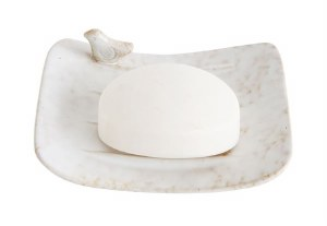 "5"" Distressed White Finish Soap Dish with Birds"