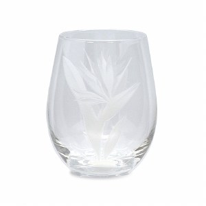 Bird Of Paradise Stemless Etched Wine Glass