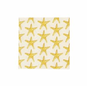 """5"""" Square Gold Starfish Beverage Napkins"""