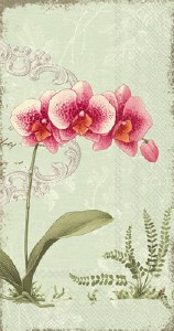 "9"" x 5"" Pink Orchid on Green Guest Towels"