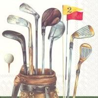"""5"""" Square White Golf Club Bag Beverage Napkins"""