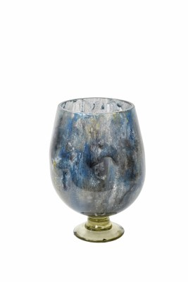 """15"""" Blue and Gray Tibetan Sky Footed Vase"""