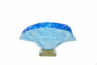 "17"" Azul Fury Glass Taco Vase"